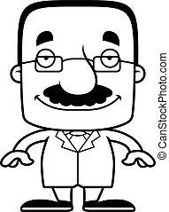 Cartoon Smiling Scientist Man