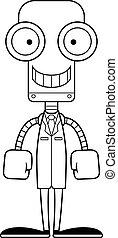 Cartoon Smiling Scientist Robot
