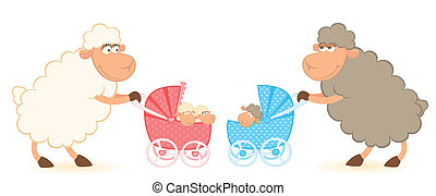 sheep with scribble baby carriage - Cartoon smiling sheep...