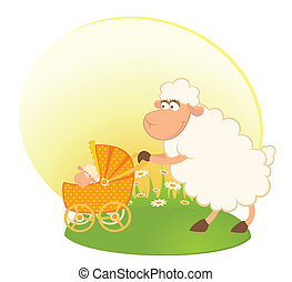 sheep with scribble baby carriage