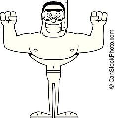 Cartoon Smiling Snorkeler