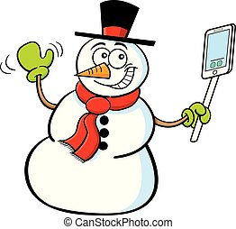 Cartoon smiling snowman holding a cell phone.