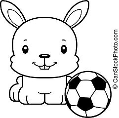 Cartoon Smiling Soccer Player Bunny