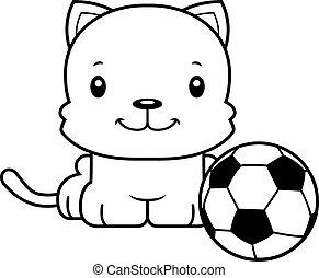 Cartoon Smiling Soccer Player Kitten