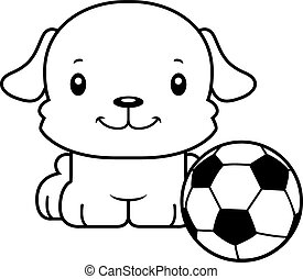 Cartoon Smiling Soccer Player Puppy