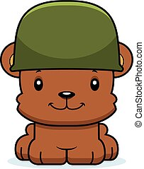 Cartoon Smiling Soldier Bear