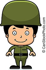 Cartoon Smiling Soldier Boy