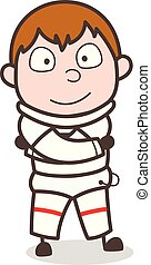 Cartoon Smiling Spaceman Expression Vector Illustration