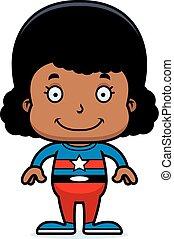Cartoon Smiling Superhero Girl