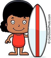 Cartoon Smiling Surfer Girl