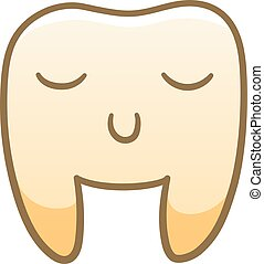 Cartoon smiling tooth with closed eyes for International Dentist Day