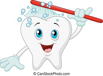 Cartoon Smiling tooth with toothbru - Vector illustration of...