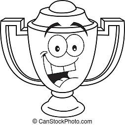 Cartoon smiling trophy cup