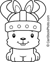 Cartoon Smiling Viking Bunny