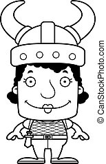 Cartoon Smiling Viking Woman
