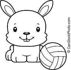 Cartoon Smiling Volleyball Player Bunny