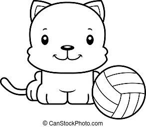 Cartoon Smiling Volleyball Player Kitten