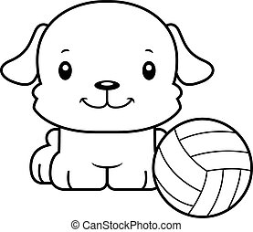 Cartoon Smiling Volleyball Player Puppy