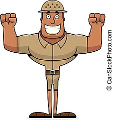 Cartoon Smiling Zookeeper - A cartoon zookeeper smiling.