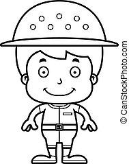 Cartoon Smiling Zookeeper Boy - A cartoon zookeeper boy...