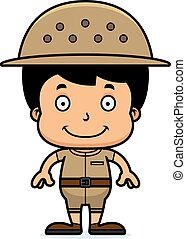 Cartoon Smiling Zookeeper Boy - A cartoon zookeeper boy...