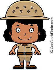 Cartoon Smiling Zookeeper Girl
