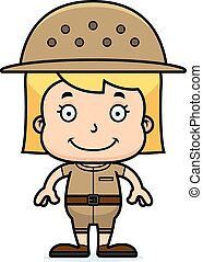 Cartoon Smiling Zookeeper Girl - A cartoon zookeeper girl...