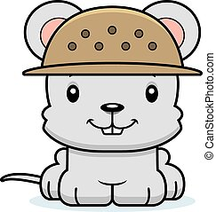 Cartoon Smiling Zookeeper Mouse - A cartoon zookeeper mouse...