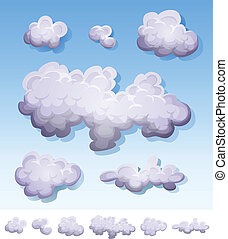 Illustration of a set of cartoon clouds, smoke patterns and fog icons on blue sky and isolated on white background