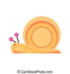 cartoon snail icon, flat detail style