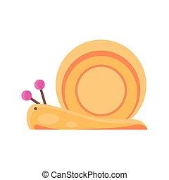 cartoon snail icon, flat detail style