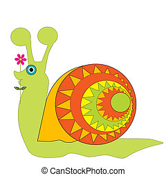 Cartoon snail isolated on white background