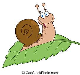 Cartoon Snail On A Leaf