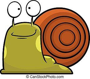 Cartoon Snail Smiling - Cartoon illustration of a snail...