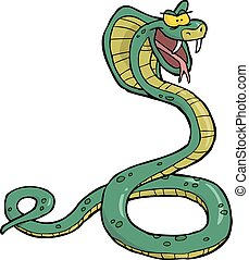Cartoon snake cobra - Cartoon doodle snake cobra on a white...