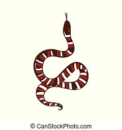 Cartoon snake drawing with brown and white stripes showing tongue