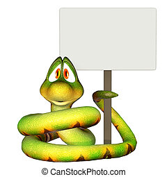 Cartoon snake holding a blank sign - isolated on the white...
