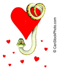 Cartoon snake in love, hanging from a heart. - A cute...