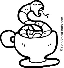 cartoon snake in tea cup