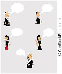 cartoon, snakke, folk