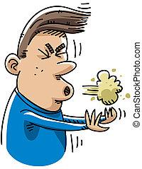 A cartoon man sneezes.