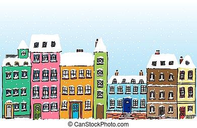 Cartoon Snow Covered Street