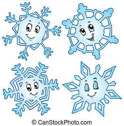 Cartoon snowflakes collection 1 - vector illustration.