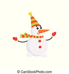Cartoon snowman character in striped scarf
