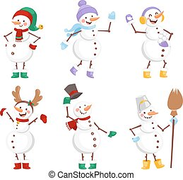 Cartoon snowman character - Vector cartoon cute white...