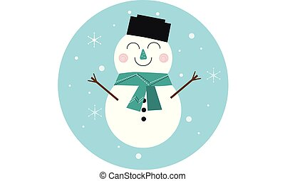 Cartoon snowman, cheerful character for christmas card. Snow...