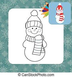Cartoon snowman. Coloring page