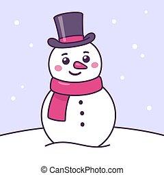Cartoon snowman drawing