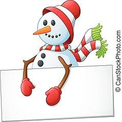 cartoon snowman holding blank sign