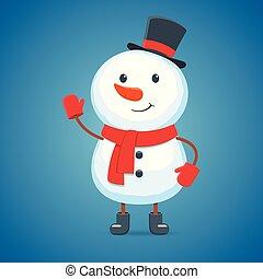 Cartoon snowman on a white background